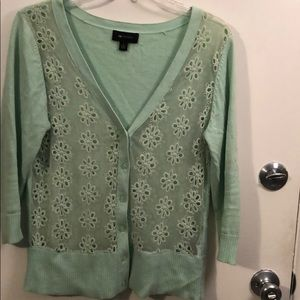 AB Studio mint green cardigan with 3/4 sleeves